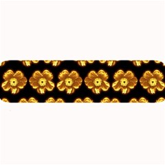Yellow Brown Flower Pattern On Brown Large Bar Mats by Costasonlineshop
