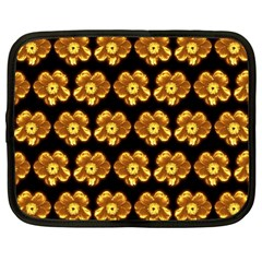 Yellow Brown Flower Pattern On Brown Netbook Case (large) by Costasonlineshop