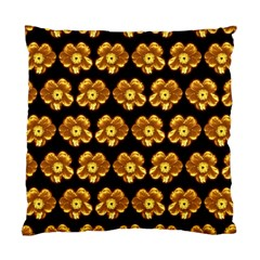 Yellow Brown Flower Pattern On Brown Standard Cushion Case (one Side) by Costasonlineshop