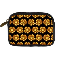 Yellow Brown Flower Pattern On Brown Digital Camera Cases by Costasonlineshop