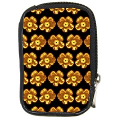Yellow Brown Flower Pattern On Brown Compact Camera Cases by Costasonlineshop