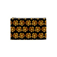 Yellow Brown Flower Pattern On Brown Cosmetic Bag (small)  by Costasonlineshop