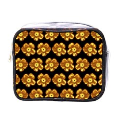 Yellow Brown Flower Pattern On Brown Mini Toiletries Bags by Costasonlineshop