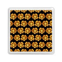Yellow Brown Flower Pattern On Brown Memory Card Reader (square)  by Costasonlineshop