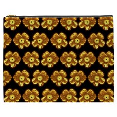 Yellow Brown Flower Pattern On Brown Cosmetic Bag (xxxl)  by Costasonlineshop