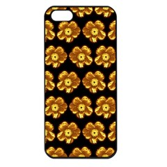 Yellow Brown Flower Pattern On Brown Apple Iphone 5 Seamless Case (black) by Costasonlineshop