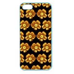 Yellow Brown Flower Pattern On Brown Apple Seamless Iphone 5 Case (color) by Costasonlineshop
