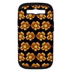 Yellow Brown Flower Pattern On Brown Samsung Galaxy S Iii Hardshell Case (pc+silicone) by Costasonlineshop