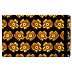 Yellow Brown Flower Pattern On Brown Apple Ipad 2 Flip Case by Costasonlineshop