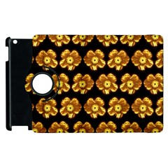 Yellow Brown Flower Pattern On Brown Apple Ipad 3/4 Flip 360 Case by Costasonlineshop