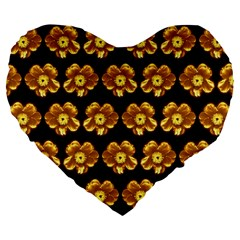 Yellow Brown Flower Pattern On Brown Large 19  Premium Heart Shape Cushions by Costasonlineshop