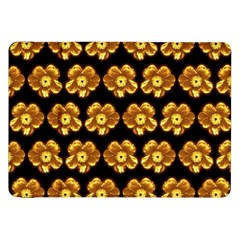 Yellow Brown Flower Pattern On Brown Samsung Galaxy Tab 8 9  P7300 Flip Case by Costasonlineshop