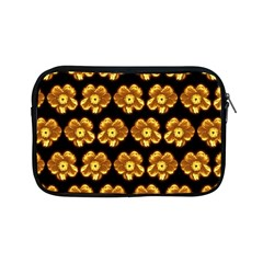 Yellow Brown Flower Pattern On Brown Apple Ipad Mini Zipper Cases by Costasonlineshop