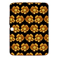 Yellow Brown Flower Pattern On Brown Samsung Galaxy Tab 3 (10 1 ) P5200 Hardshell Case  by Costasonlineshop
