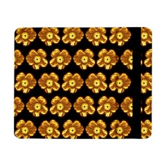 Yellow Brown Flower Pattern On Brown Samsung Galaxy Tab Pro 8 4  Flip Case by Costasonlineshop