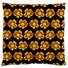 Yellow Brown Flower Pattern On Brown Standard Flano Cushion Case (one Side) by Costasonlineshop