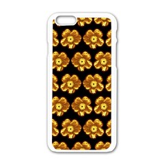 Yellow Brown Flower Pattern On Brown Apple Iphone 6/6s White Enamel Case by Costasonlineshop