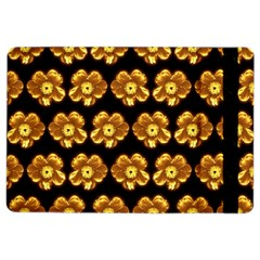 Yellow Brown Flower Pattern On Brown Ipad Air 2 Flip by Costasonlineshop