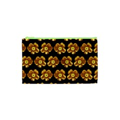 Yellow Brown Flower Pattern On Brown Cosmetic Bag (xs) by Costasonlineshop