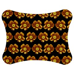 Yellow Brown Flower Pattern On Brown Jigsaw Puzzle Photo Stand (bow) by Costasonlineshop