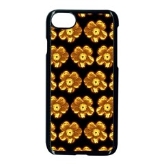 Yellow Brown Flower Pattern On Brown Apple Iphone 7 Seamless Case (black)