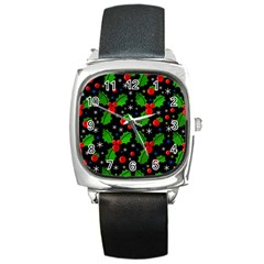 Xmas Magical Pattern Square Metal Watch by Valentinaart