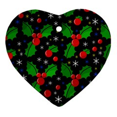 Xmas Magical Pattern Heart Ornament (2 Sides) by Valentinaart