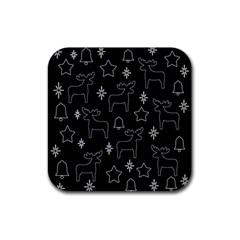 Black Xmas Pattern Rubber Square Coaster (4 Pack)  by Valentinaart