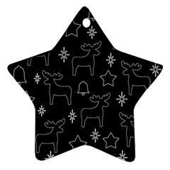 Black Xmas Pattern Star Ornament (two Sides)  by Valentinaart