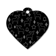 Black Xmas Pattern Dog Tag Heart (one Side) by Valentinaart