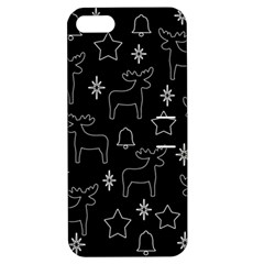 Black Xmas Pattern Apple Iphone 5 Hardshell Case With Stand by Valentinaart