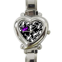 Purple Lizard  Heart Italian Charm Watch by Valentinaart