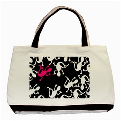 Magenta Lizard Basic Tote Bag (two Sides) by Valentinaart