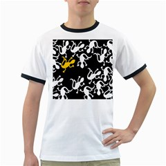 Yellow Lizard Pattern Ringer T Shirts