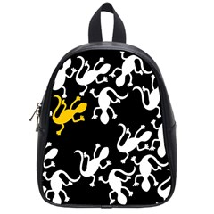 Yellow Lizard Pattern School Bags (small)  by Valentinaart