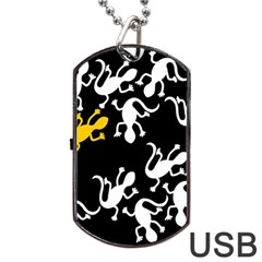 Yellow Lizard Pattern Dog Tag Usb Flash (two Sides)  by Valentinaart