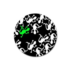 Green Lizards  Magnet 3  (round) by Valentinaart