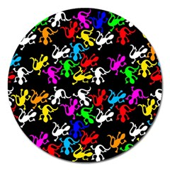 Colorful Lizards Pattern Magnet 5  (round) by Valentinaart
