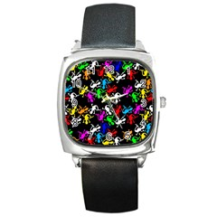 Colorful Lizards Pattern Square Metal Watch by Valentinaart