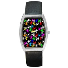 Colorful Lizards Pattern Barrel Style Metal Watch by Valentinaart