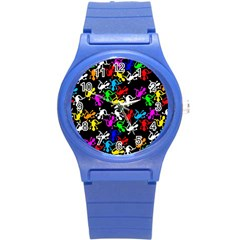 Colorful Lizards Pattern Round Plastic Sport Watch (s) by Valentinaart