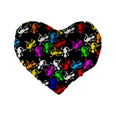 Colorful Lizards Pattern Standard 16  Premium Heart Shape Cushions by Valentinaart