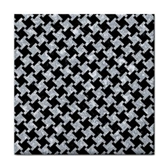 Houndstooth2 Black Marble & Gray Marble Tile Coaster by trendistuff