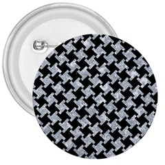 Houndstooth2 Black Marble & Gray Marble 3  Button by trendistuff