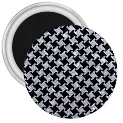 Houndstooth2 Black Marble & Gray Marble 3  Magnet by trendistuff
