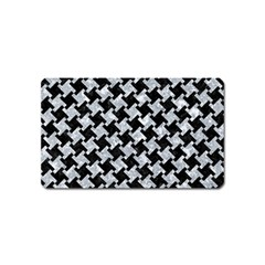 Houndstooth2 Black Marble & Gray Marble Magnet (name Card) by trendistuff