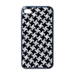 Houndstooth2 Black Marble & Gray Marble Apple Iphone 4 Case (black) by trendistuff