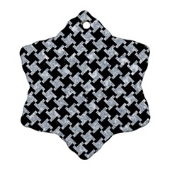 Houndstooth2 Black Marble & Gray Marble Snowflake Ornament (two Sides) by trendistuff