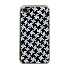 Houndstooth2 Black Marble & Gray Marble Apple Iphone 4 Case (clear) by trendistuff