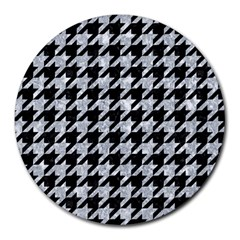 Houndstooth1 Black Marble & Gray Marble Round Mousepad by trendistuff
